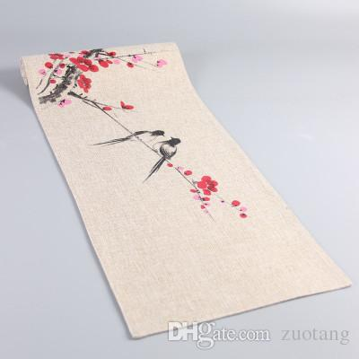 Hand Painting Flower Bird Chinese Fabric Table Runner Rectangular Cotton  Table Cloth Linen Decorative Coffee Tea Table Mat Modern Table Runner  Modern Table ...