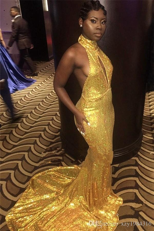 Golden High Neck Prom Dresses Dubai Sparkly Sequined Key-Hole Backless Mermaid Party Dresses Sexy South African Celebrity Prom Dress Cheap