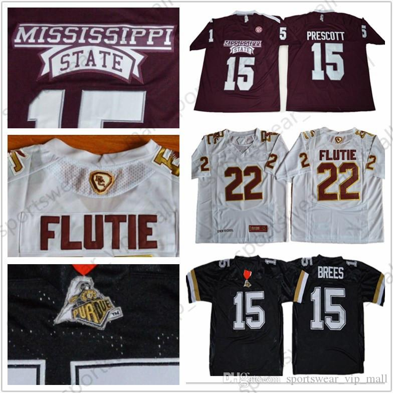 release date 95970 c2140 NCAA Mississippi State Bulldogs Jersey Dak Prescott Purdue Boilermakers 15  Drew Brees 22 Doug Flutie Boston College Football Jerseys