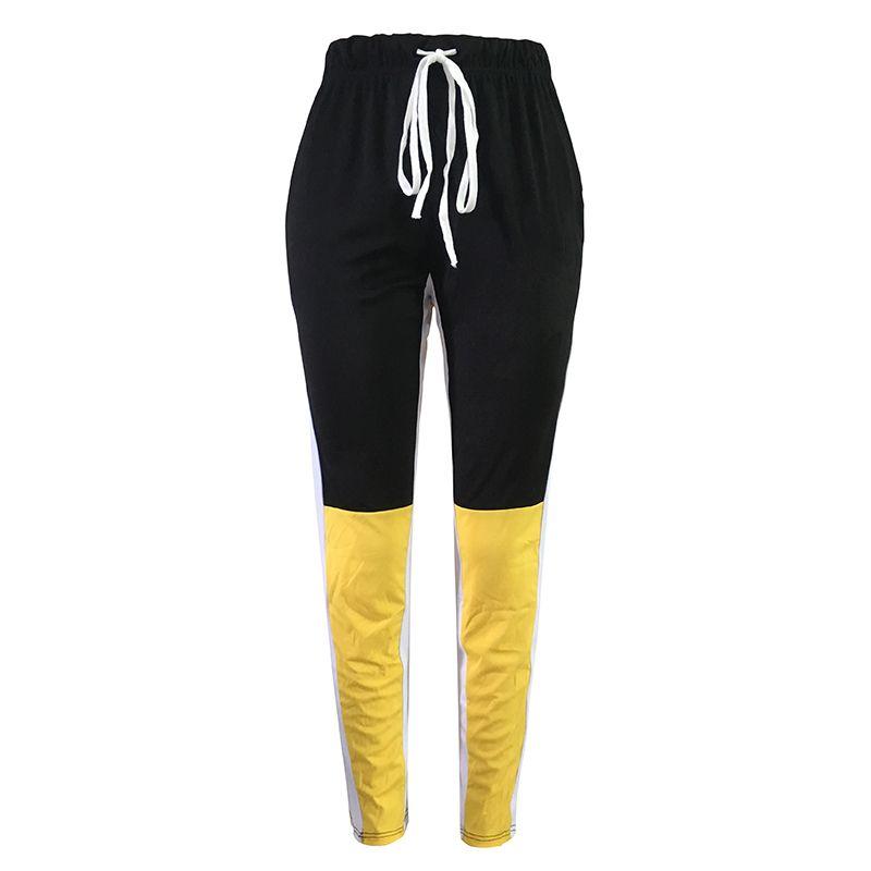 d4508ed682 Compre Mujeres Leggings Deportivos Bloque De Color Cordón Cintura Elástica  Cintura Alta Fitness Fitness Bodycon Pantalones Amarillo Otoño Pantalones  De ...