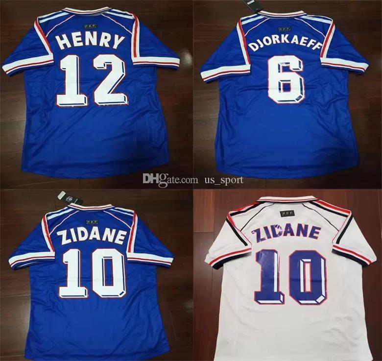 392dc9a70da Football Jerseys 1998 Zidane Retro Soccer Jerseys Djorkaeff Henry ...