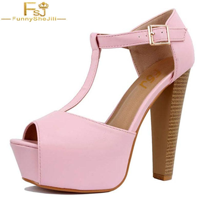 bc34df769f50 FSJ 2018 Handmade Fashion Pink Black Red Womens Peep Toe High Heel Stiletto  T Strap Platform Sexy Party Dress Sandals Shoes 43 Wedge Booties Saltwater  ...