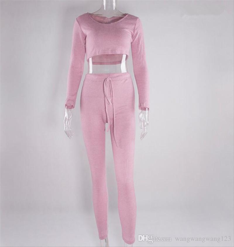 Survêtements pour femmes New Trend Sweat à capuche rose sexy en coton tricoté Sweat-shirt Ensembles Hauts courts et pantalons longs élastique slim Cordon Sportswear
