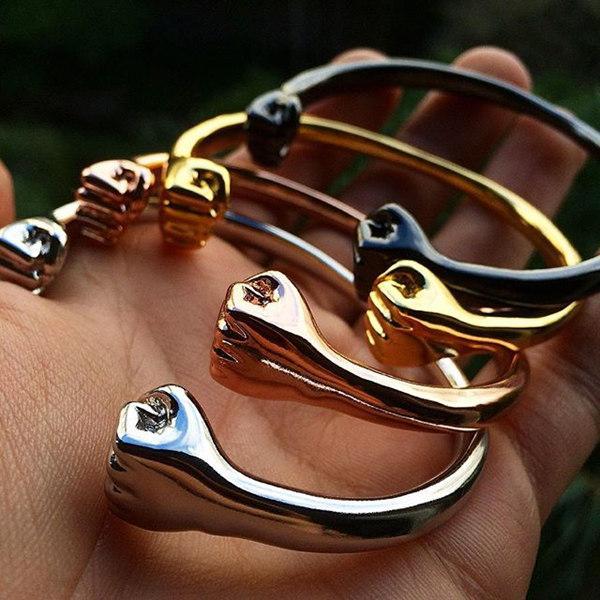 c44299bc97c0d Male stainless steel twist fist open cuff bangle bracelet