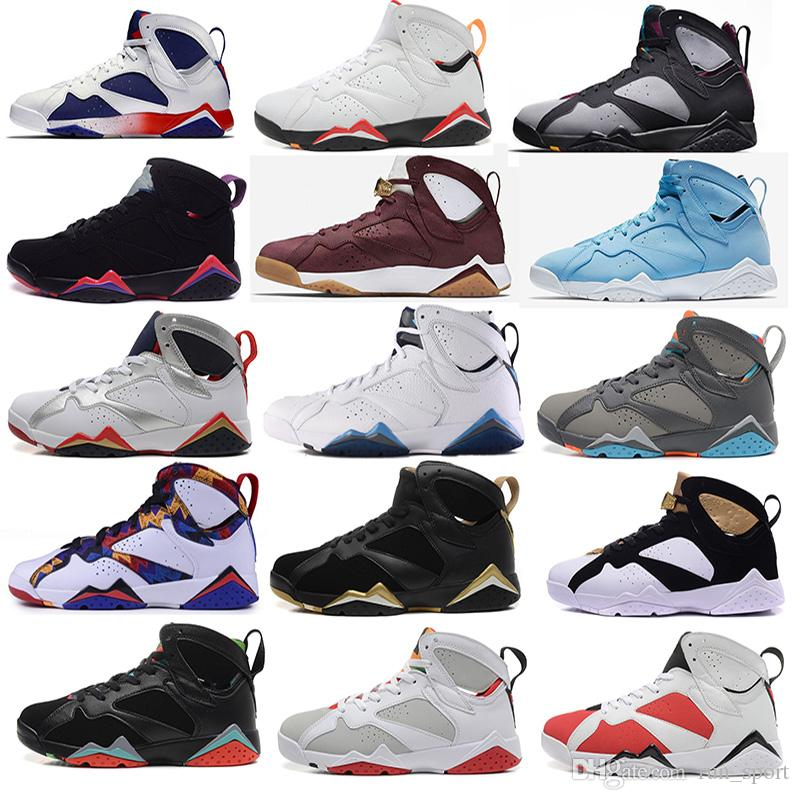 c2cf3a181 2018 New 7 Men Basketball Shoes UNC Pantone University Blue Tinker  Alternate Olympic Hares Bordeaux Cigar Cardinal French Blue GMP Sneakers 7s  Royal Mens ...