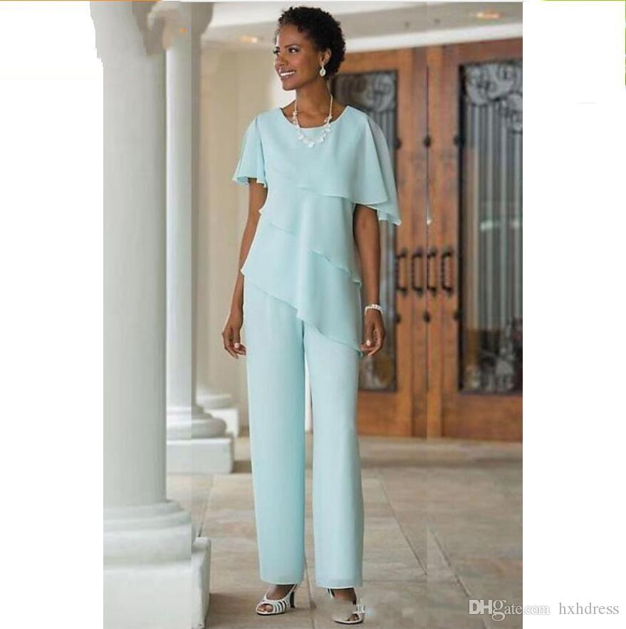 2019 New Mother of the Bride Dresses Pants Suits Wedding Guest Dress Silk Chiffon Short Sleeve Tiered Mother of Bride Pant Suits Custom Made