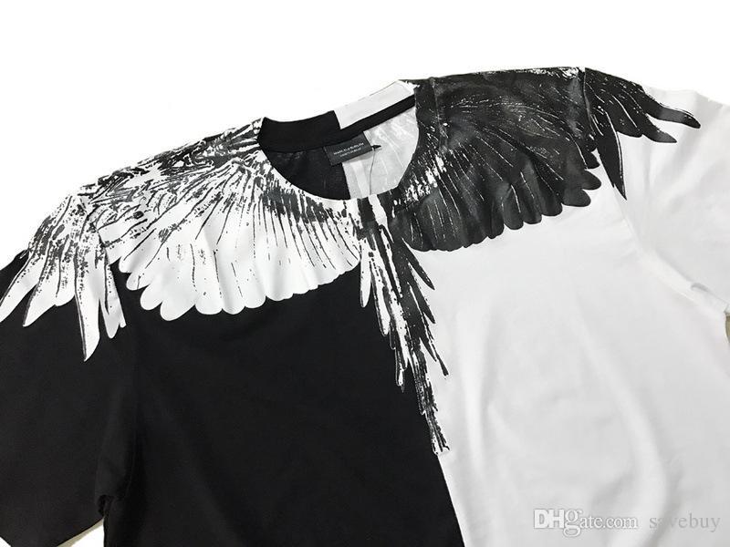 Marcelo Burlon T-shirt Italie Comté de Milan plume Wing T-Shirts Hommes Mode 2018 femmes Casual style d'été T-shirt de haute qualité