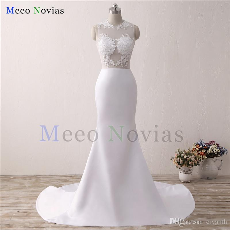 100% Real Photo Custom Made White Lace Mermaid Wedding Dresses 2018 New Arrival Stain Wedding Gowns Sexy See Through Back Bride Dress