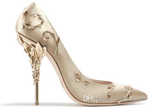 b158c437 Compre Ralph Russo, Oro Rosado, Color Burdeos, Zapatos Cómodos De Boda Para  El Diseñador, Mancha De Seda, Eden, Zapatos De Tacones Para La Fiesta De La  ...