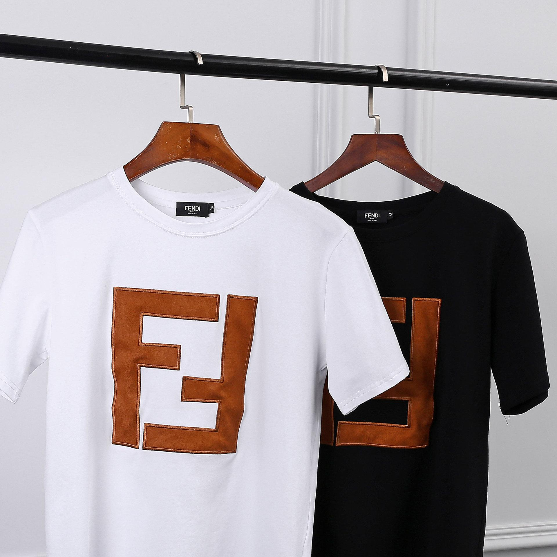 d91ea14f955b 18ss FEND Men s Designer Shirt FF Letter Men s Summer T Shirt Short ...