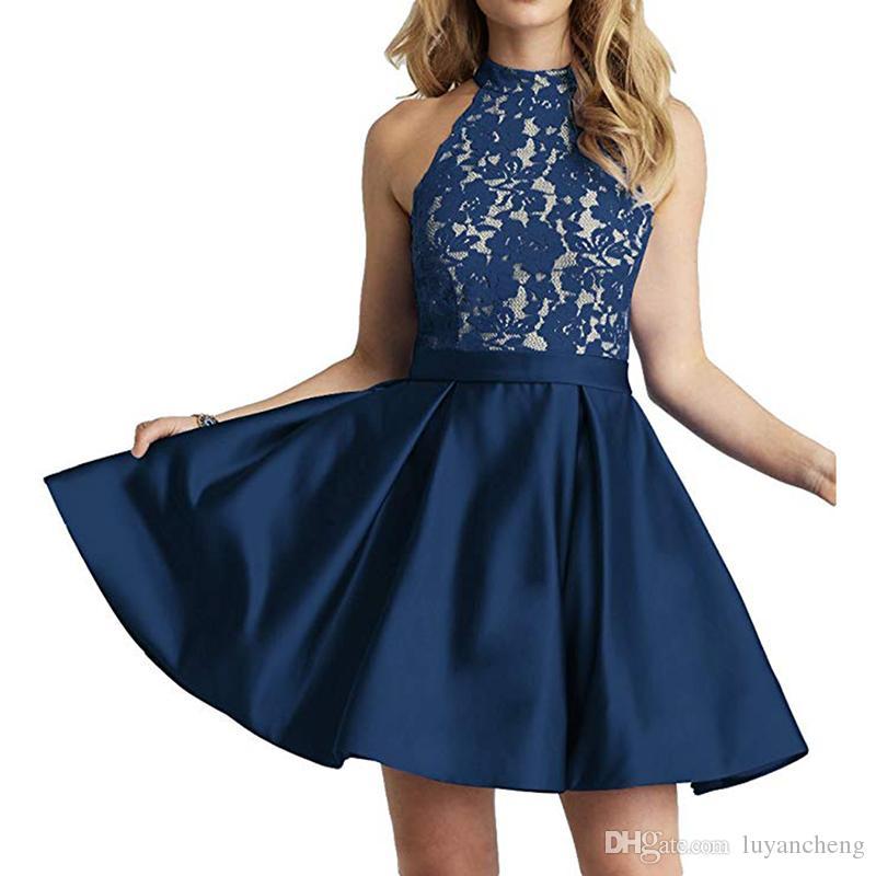 5757778bdbf1 Sexy Halfter Kurze Ballkleider Marineblau Spitze Mit Satin Abschlusskleid  Abschlussballkleider Mini Cocktailkleider Abend Party Kleider