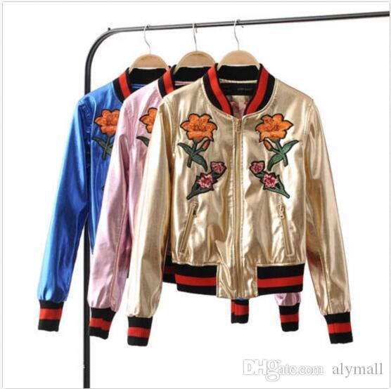 Hot Chic Short Coat Women S Flower Embroidery Pu Leather Jackets