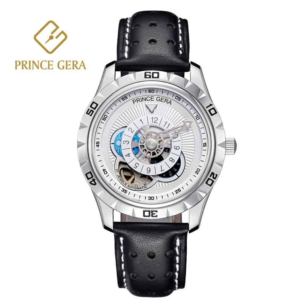 9b30a67d366 Compre PRÍNCIPE GERA Brilhando Prata Masculino Relógio Automático De Luxo  Italiano Pulseira De Couro Genuíno Esqueleto Dos Homens Relógios De Safira  Dial De ...