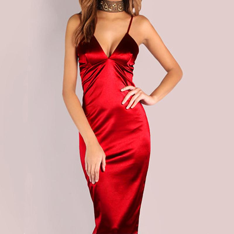 a0120acc552 Burgundy Satin Party Club Dress Deep V Neck Backless Women Summer Dresses  Sexy Bodycon Strap Ruched Ladies Midi Slip Dress Fashion Dresses Halter  Dress From ...