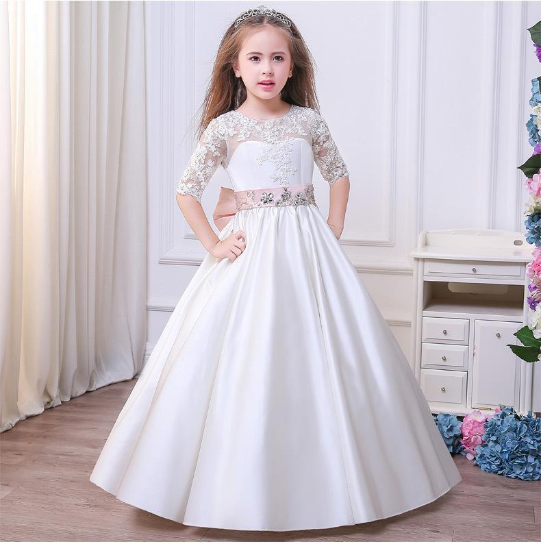 684310c34 venta al por menor primavera verano 2018 nuevo vestido de las muchachas  flor temperamento vestido de bola princesa vestido largo bebé niños boda ...