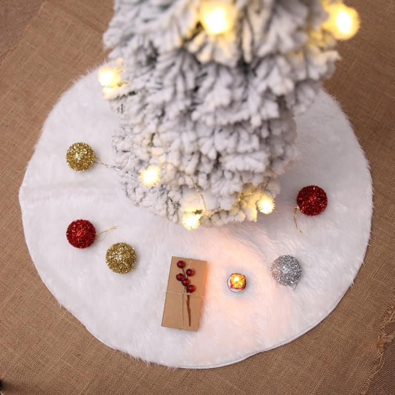 White Faux Fur Christmas Tree Skirt Luxury Soft Snow Tree Skirts For