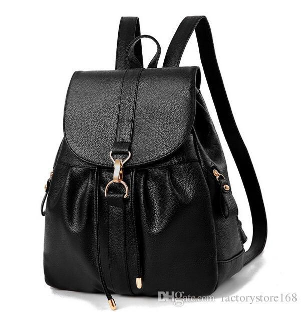 8afb222dab9 Business Casual Metal Hook PU Leather Backpack Womens Designer Backpacks  Black Rucksack Backpack Handbags For Girls Christmas New Best Backpacks  Girls ...