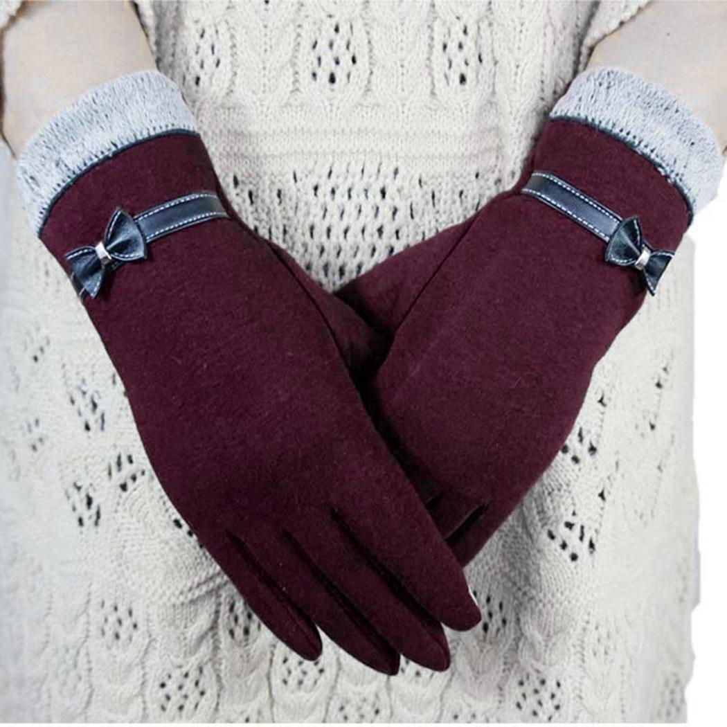 Apparel Accessories Elegant Bow Cashmere Women Gloves 2018 Autumn Winter Warm Full Finger Mittens Glove Cute Female Ski Driving Gloves Guantes Mujer