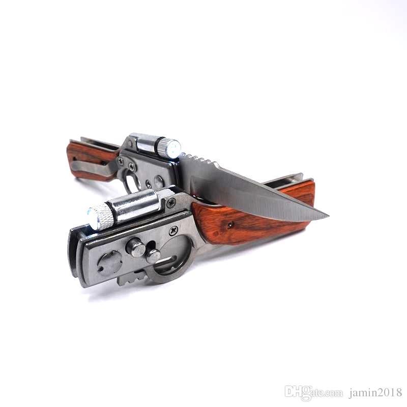 Pequena AK47 Lâmina de Aço Lâmina de Aço Inoxidável Faca de Arma de Bolso Faca Dobrável Tactical Camping Ao Ar Livre EDC Ferramenta Facas de Sobrevivência Com luz LED