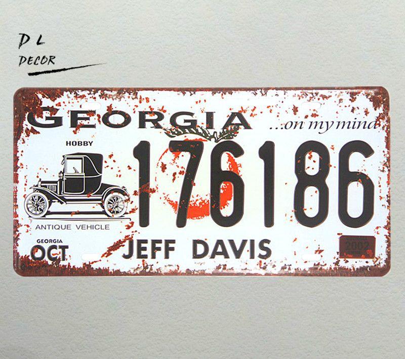 DL-GEORGIA 176186 JEFF DAVIS Route 66 Metal Highway Sign Garage Man Cave Wall Decor