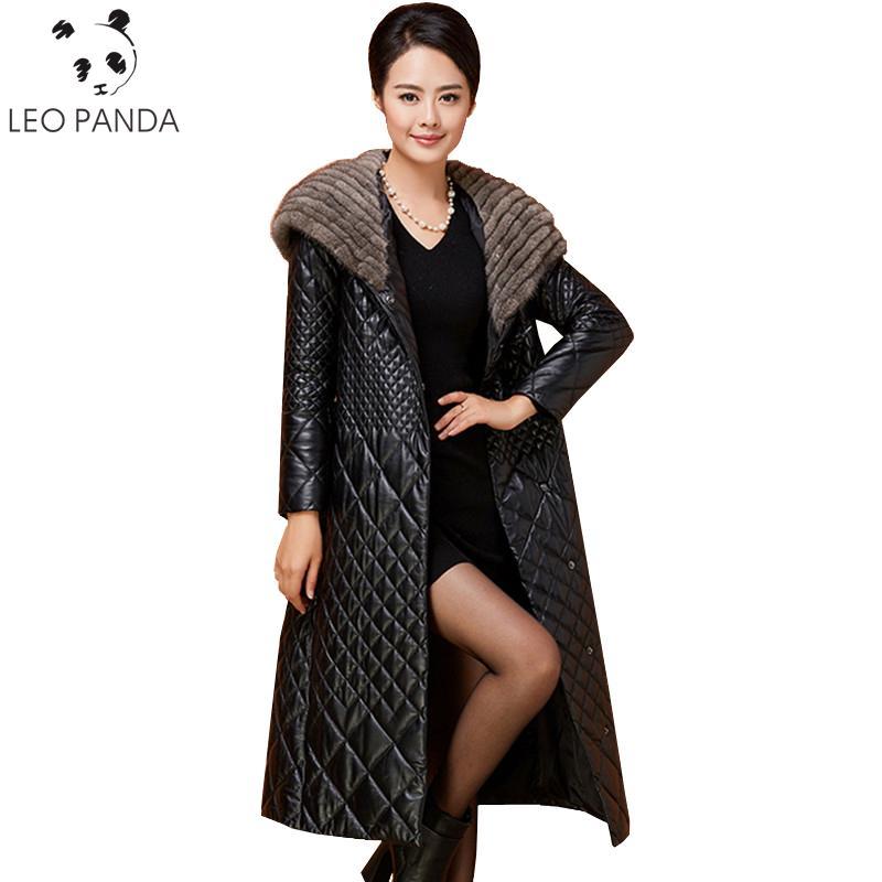 e621c0af394 2019 2018 Winter Genuine Leather Jacket Women Warm Long Slim Real Sheepskin  Coat Mink Fur Collar Hooded Parka Plus Size Female Coats From  Liujunjie3344