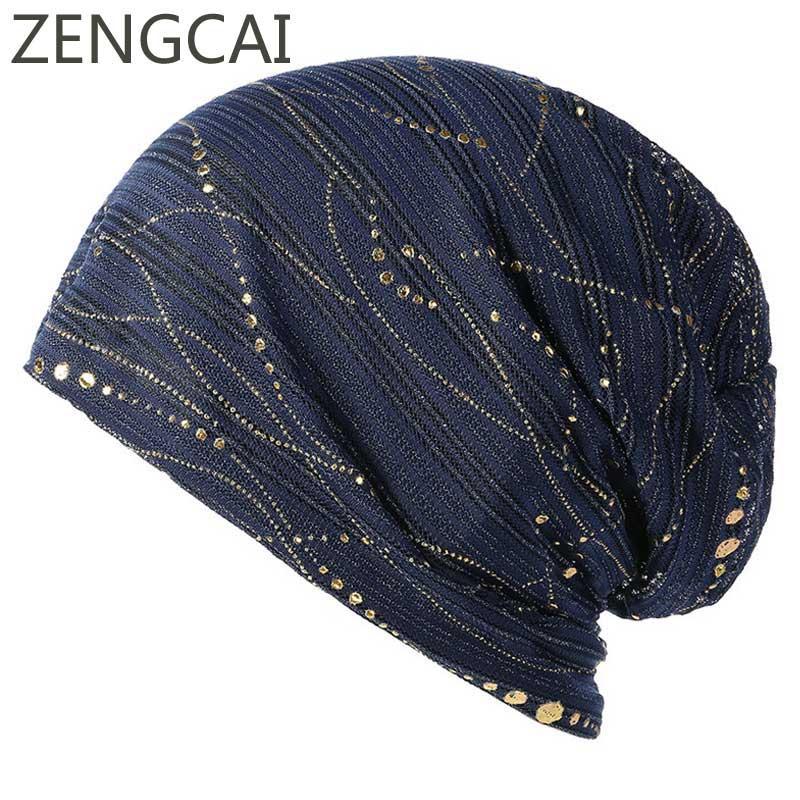 Summer Beanies For Women Muslim Turban Hat Ladies Spring Summer Cap Fashion  Bronzing Headwrap Hats Casual Skullies Beanies Caps Cool Beanies Beanie Caps  ... 07c2db28be2