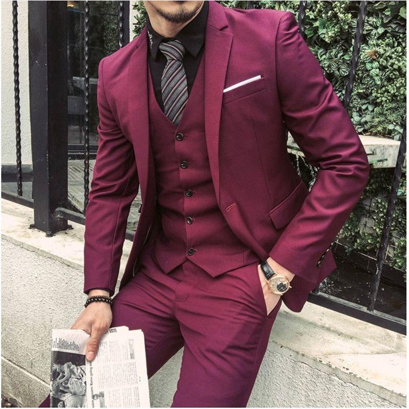 Compre 2018 Traje Borgoña A Medida Morado Hombres Novio Slim Fit 3 Piezas  Smoking Trajes Baile De Graduación Blazer Terno Masuclino Jacket + Pantalón  + ... 722d87941a8