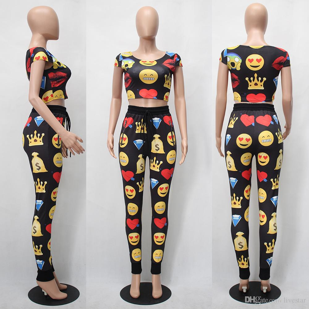 Women fitness Two Piece Set Girls Slim fit pullover t shirt sporting Top+Long workout Pants High-Quality workout Suits enjoy smile printed