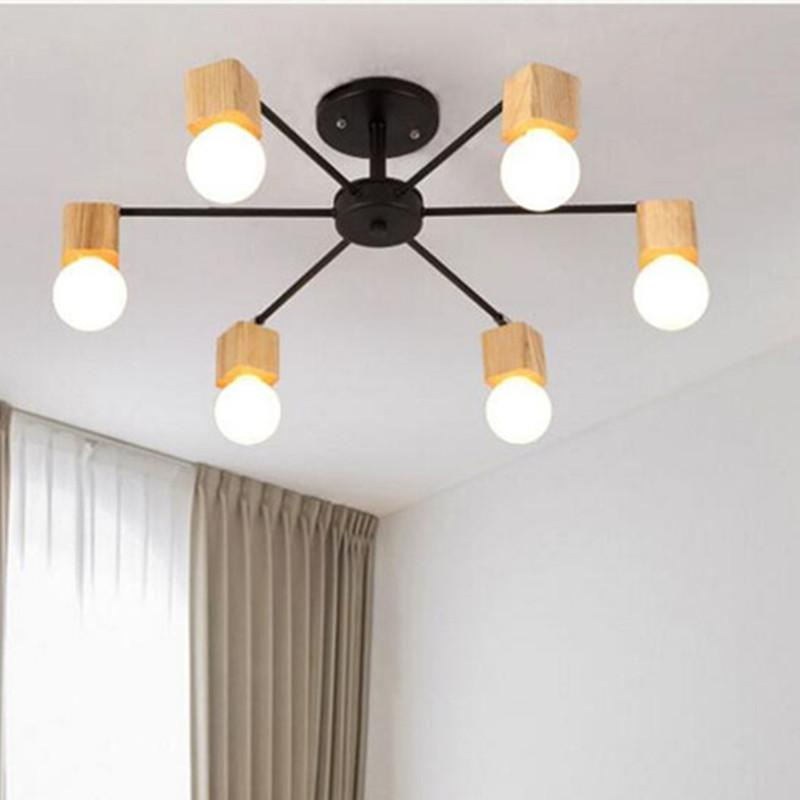 Fashion modern lamps LED Ceiling lights indoor lighting wood lamp holder  living dining room Bedroom bar shop light fixture