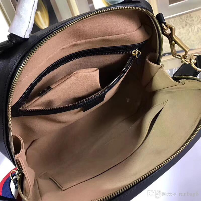 7A Quality Brand Women's Black Marmont Matelasse Shoulder Bag 498100 Genuine Cowhide Leather Handbag zipper Around Flap Pocket Front