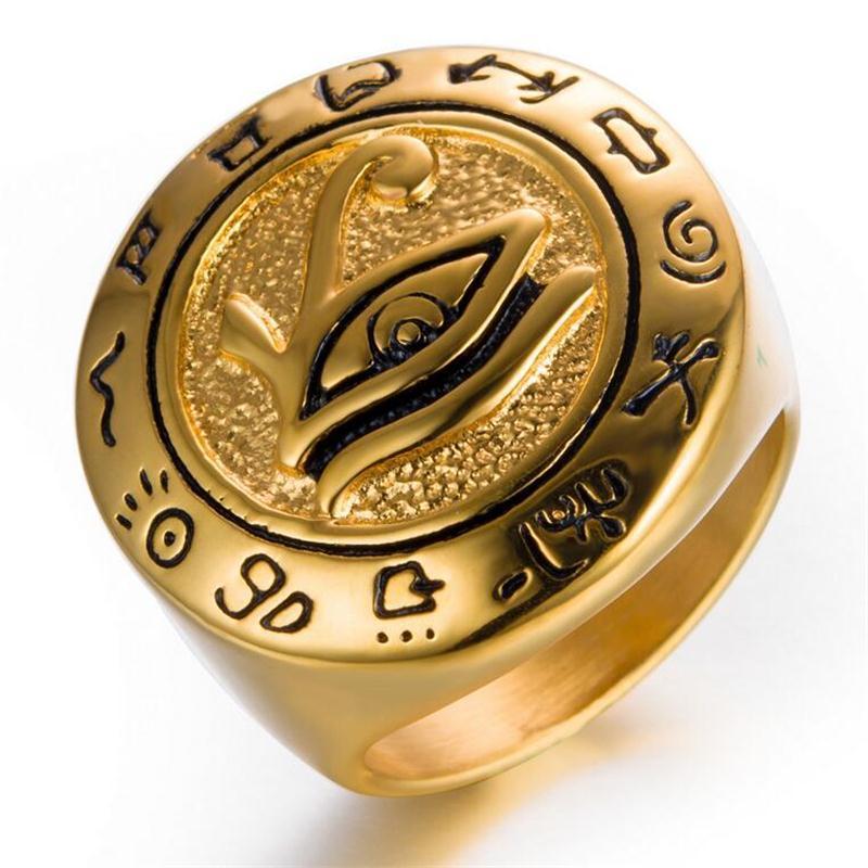 Olho de Horus Anel, Anel Terceiro Olho, Jóias Egípcias Para Ele, presente, Anel de Aço Inoxidável, Mens Anel de Ouro Antigo Jóias Declaração