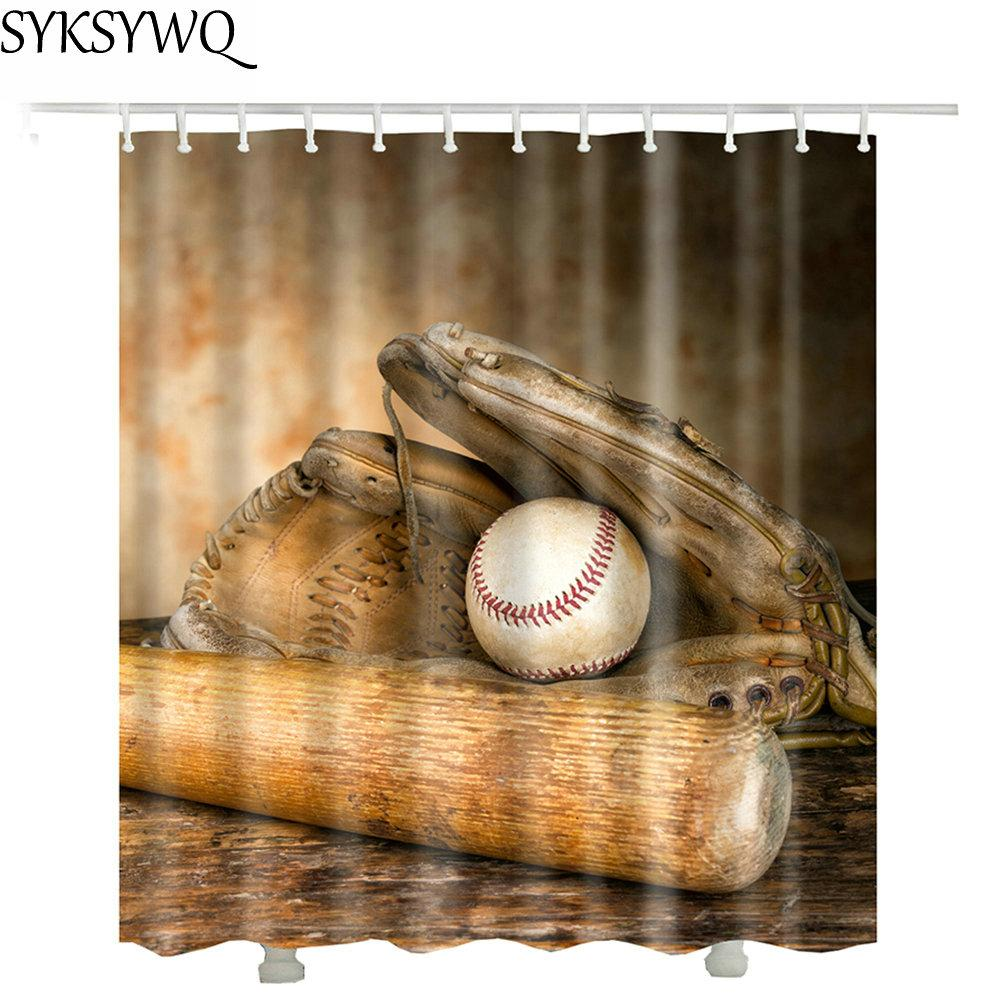 Baseball Kit Shower Curtain Waterproof Hot Sale New Design Sprot ...