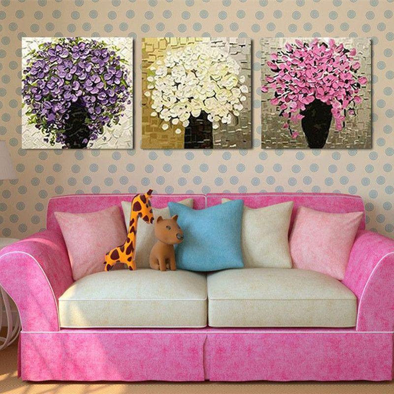 3 quadri di quadri moderni coltelli quadri floreali dipinti a mano fiori  astratti dipinti ad olio su tela decorazione della casa arte della parete
