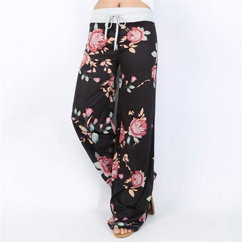 662d1a8bc2f 2019 2017 Summer Wide Leg Harem Pants High Waist Long Loose Flare Pants  Ladies Floral Boho Plus Size Trousers Pantalon Femme From Liangcloth
