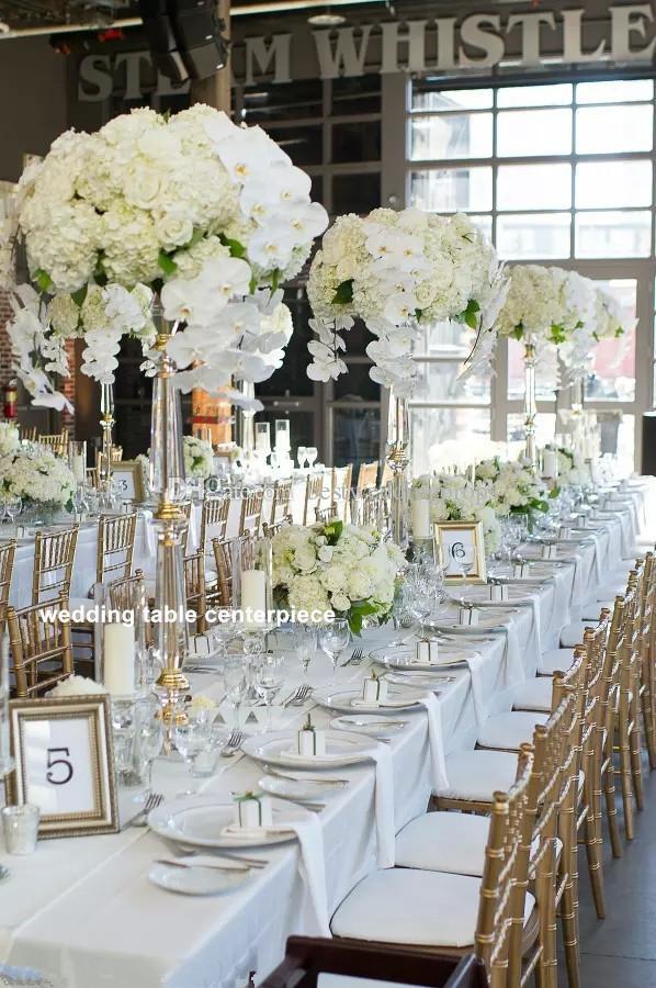 New Style Wedding Crystal Table Centerpiece Gold Flower Trump Vase