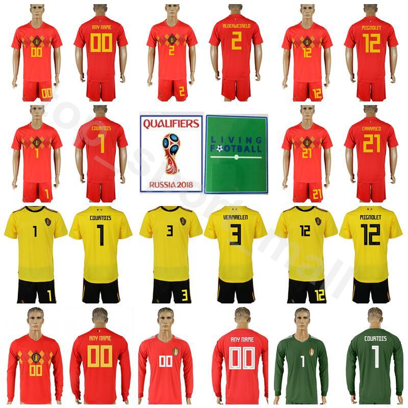 Goalkeeper 1 Thibaut Courtois Belgium Soccer Jersey Set 2018 World ... 0e282a45f