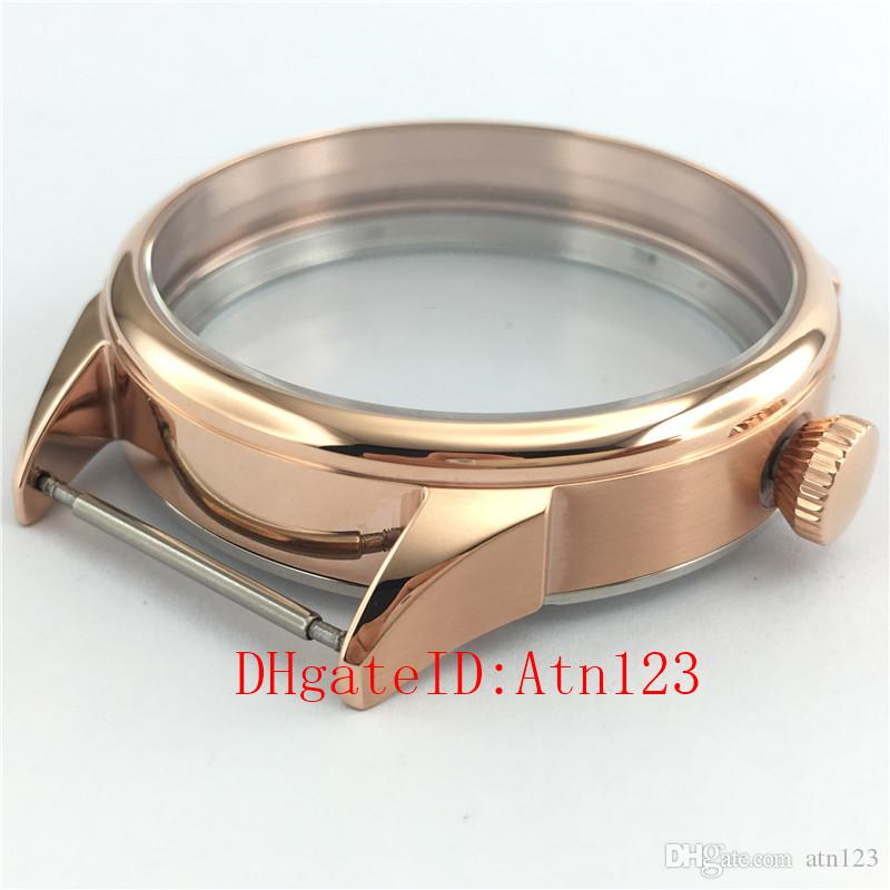 42mm Rose Gold 316L Stainless Steel Wrist Watch Case Fit ETA 6497/6498 Seagull ST3600/3620 Movement Wristwatch Case P640-1#