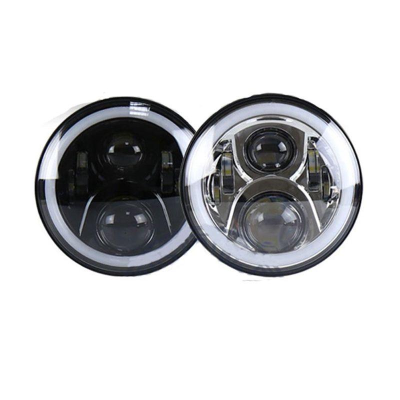 "For 1997~2016 Jeep Wrangler JK LJ CJ Hummer H1 H2 7"" LED Headlights Bulb RGB Halo Angel Eye with Bluetooth Remote 7inch Headlamp"