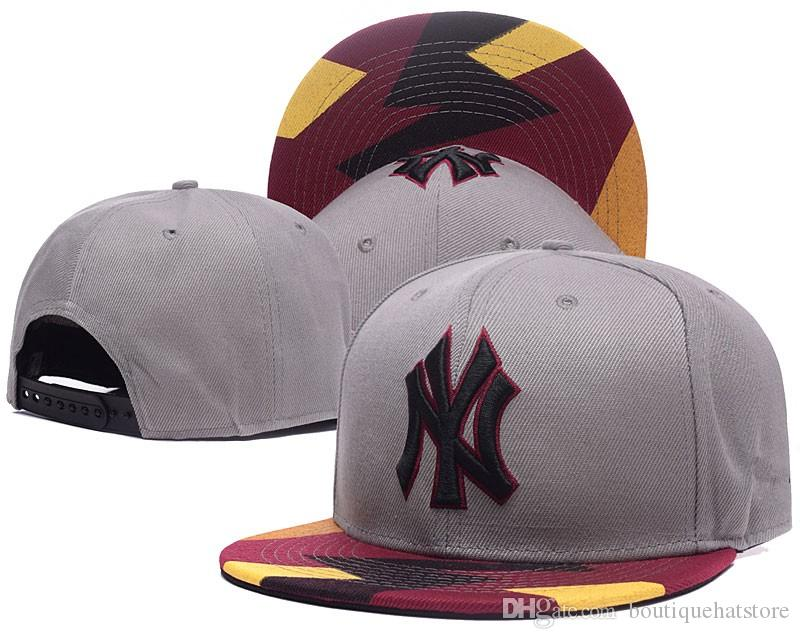 Fashion brands Hip Hop Classic NY Snapback Hat Team Logo ny Embroidery Sport Baseball Flat Caps Hip Hop Chapeaus In Gray Color