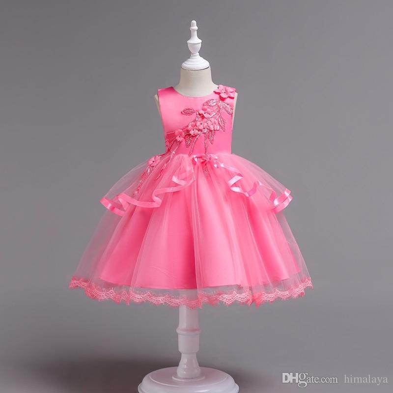 65d86eb1ed433 Acheter 2018 Enfants Rose Fleurs Robes De Princesse Du Soir Enfants  Vêtements De Fête Bébé Filles Vêtements Élégants Tout Petits Robe De Bal Robe  Pour 110 ...