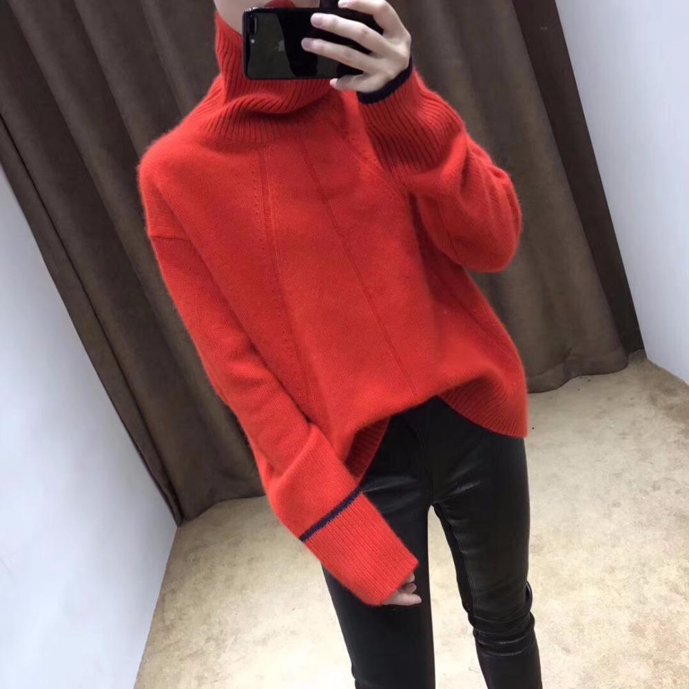 Pulls et pull-overs femme de grande taille en cachemire femmes Pulls surdimensionnés rouges de haute qualité épaissie de col roulé hiver chaud