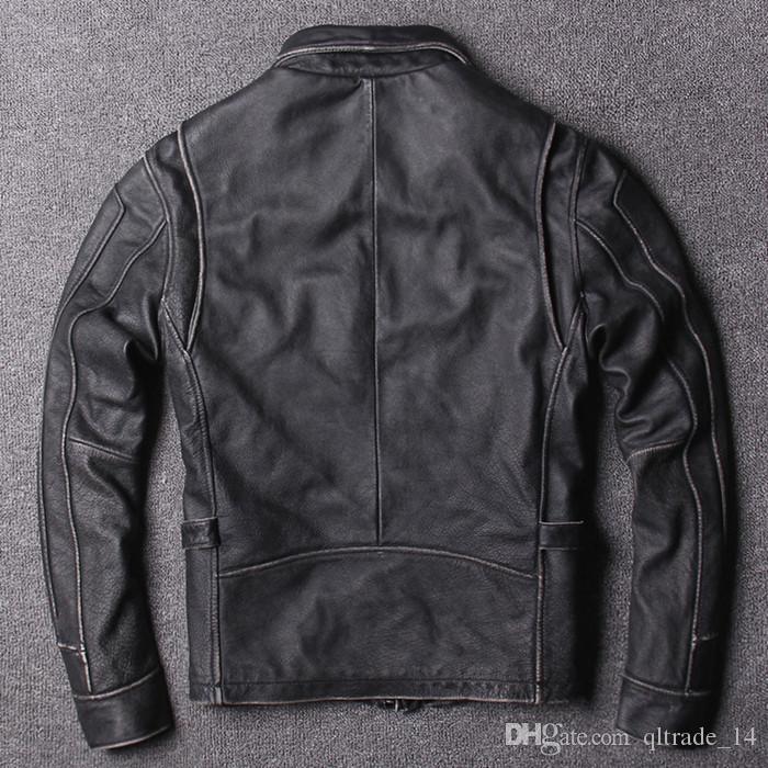 5 colours New retro men motorcycle jackets vintage 100% genuine leather jacket