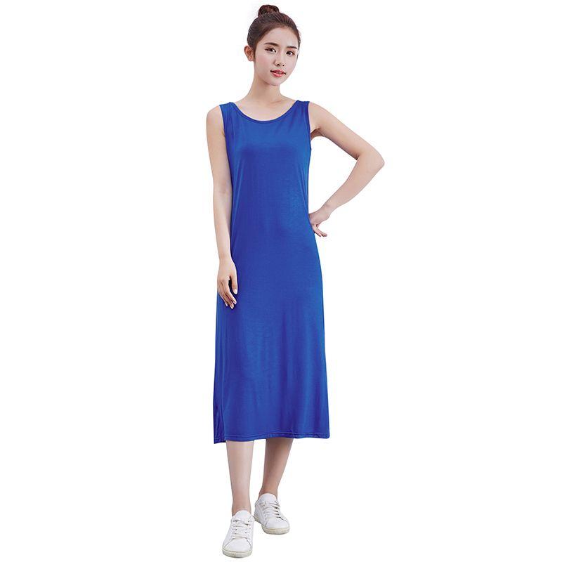 c1c3900dd25 Women Modal Sleeveless Long Dress Solid O Neck Casual Slim Vest Tank Dress  Sundress Beach Plain Basic Simple Mid Calf Dress 2019 Pale Yellow Maxi  Dress All ...