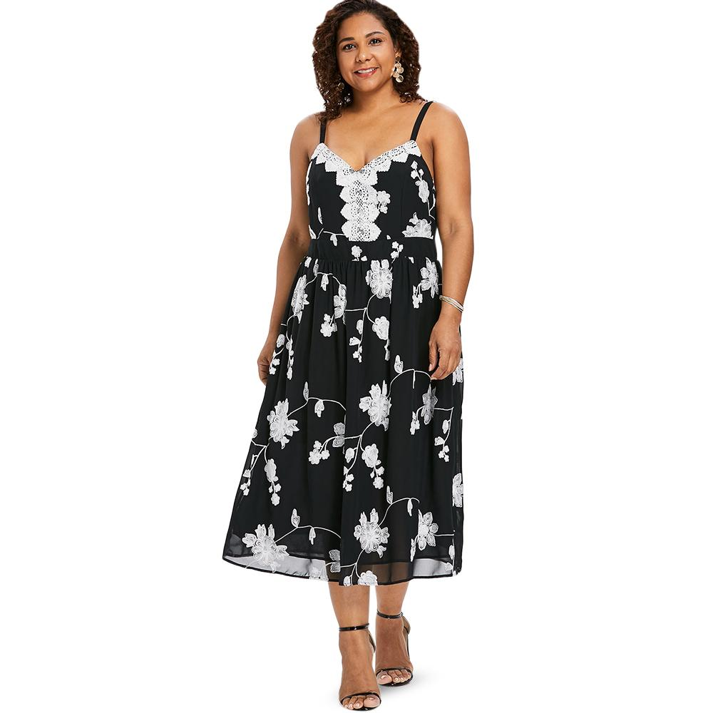 cc3d82596ed 2019 Wipalo Plus Size Sleeveless Midi Dress Casual High Waist Floral Cami  Dress Rochet Flower Flowing Spaghetti Strap Vestidos From Cute08