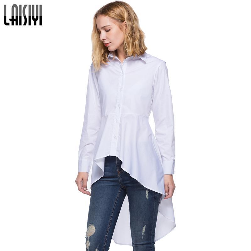 LAISIYI 2018 Moda Beyaz Gömlek Kadın Düzensiz Gömlek Sonbahar Rahat Swallowtail Bluz Ince Uzun Kollu Bluzlar ASBL50197 Tops