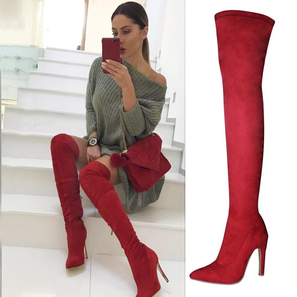e2dbee7c30a LELE Women Boots High Heels Knee High Boots Suede Thigh Over The Knee Red  Black Gray Brown Boot Ladies shoes Plus Size 43