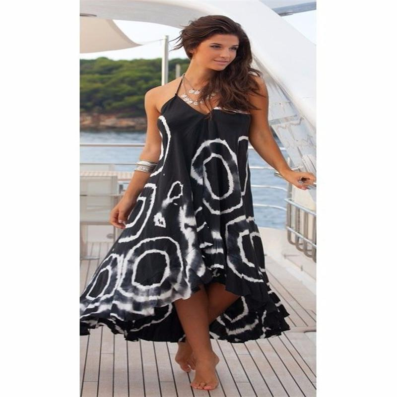 4ecc242e1fdd Sexy Summer Dress V Neck Sleeveless Geometry Boho Cotton Maxi Long ...