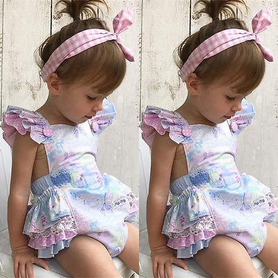 ac83c3c27b4 2019 New Sweet Baby Girls Floral Romper Jumpsuit Outfits Sleeveless Toddler  Newborn Lovely Adorable Kids Summer Clothes 0 3Y From Guoli0005