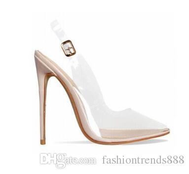 8edfe54d07f Rose Gold White Clear PVC Stiletto Heels Women Sandals Buckle Strap  Slingback Women Pumps Pointed Toe High Heels Shoes Chaco Sandals Jack  Rogers Sandals ...