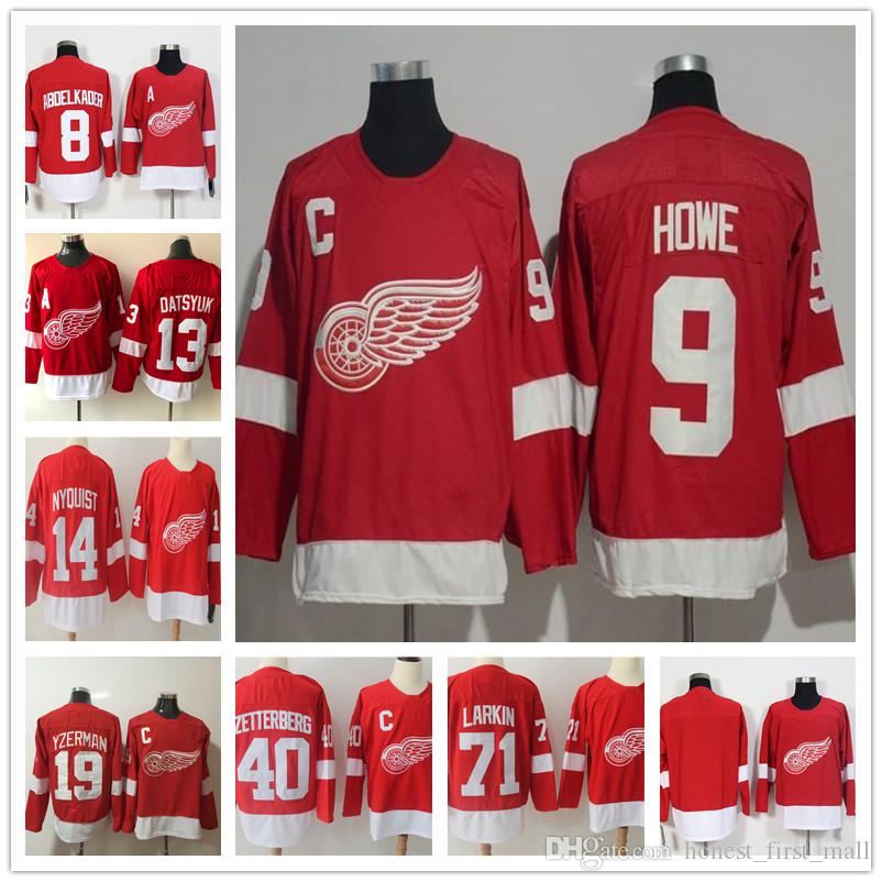 8826fd1980f 2018 Stitched 9 Gordie Howe Detroit Red Wings Hockey Jerseys 8 ...